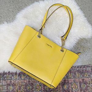 Calvin Klein Hayden Saffiano Yellow Tote